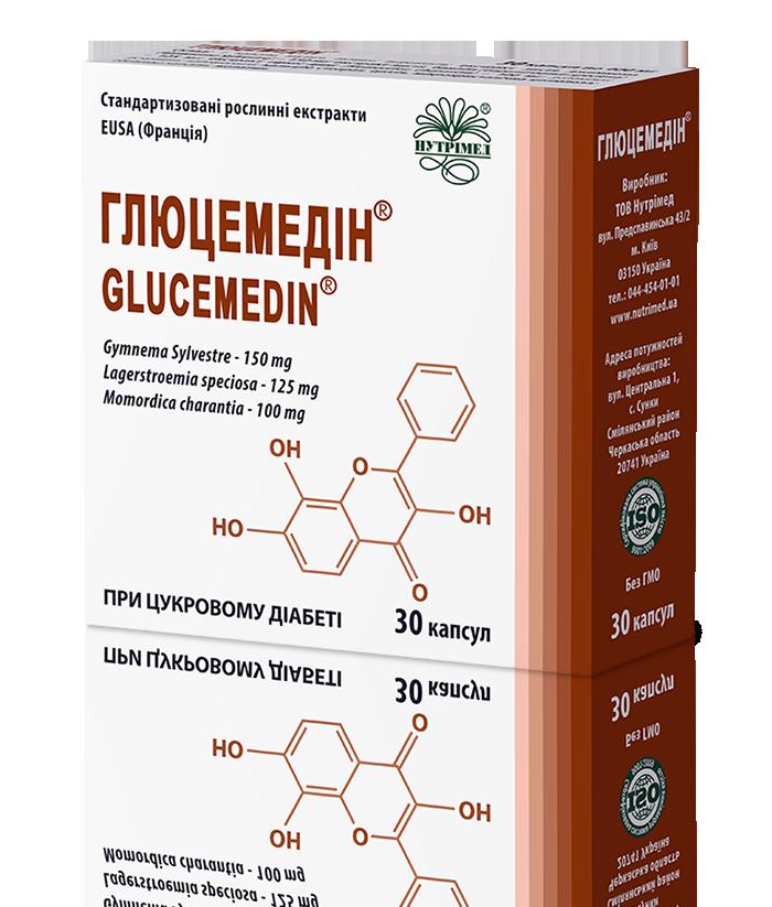 Упаковка Глюцемедин, 30 капсул